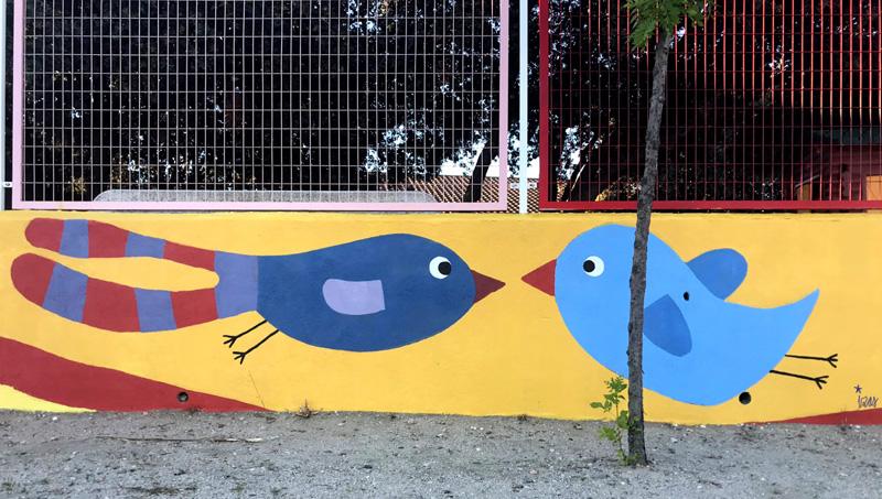 mural izas azulpatio miguel delibes primaria detalle 6