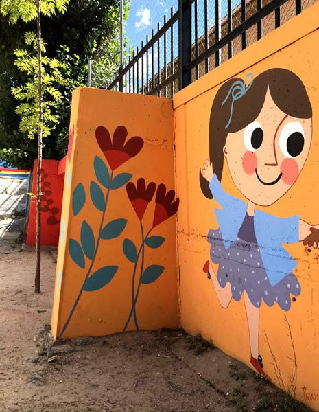 mural izas azulpatio miguel delibes primaria detalle 8