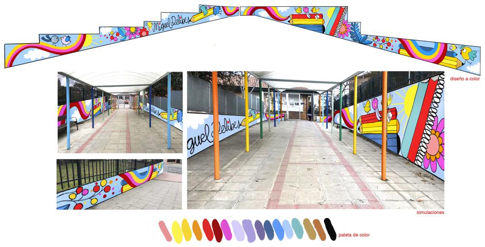 mural izas azulpatio miguel delibes proyecto infantil