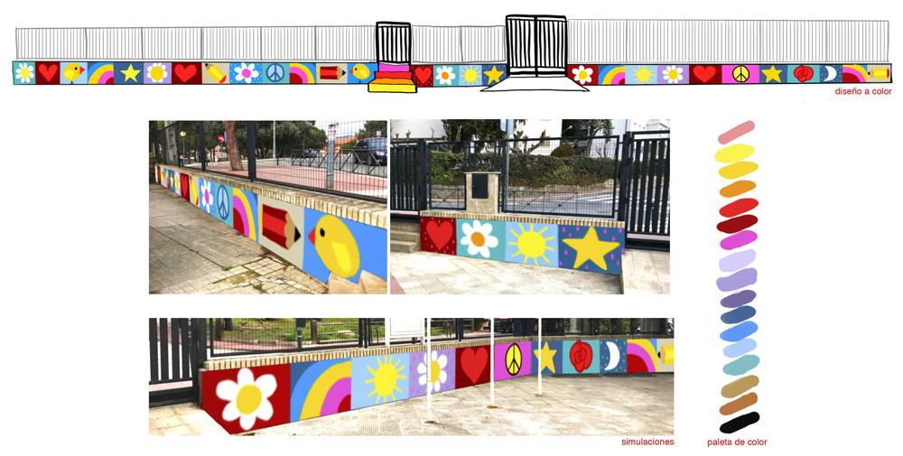 mural izas azulpatio miguel delibes proyecto primaria