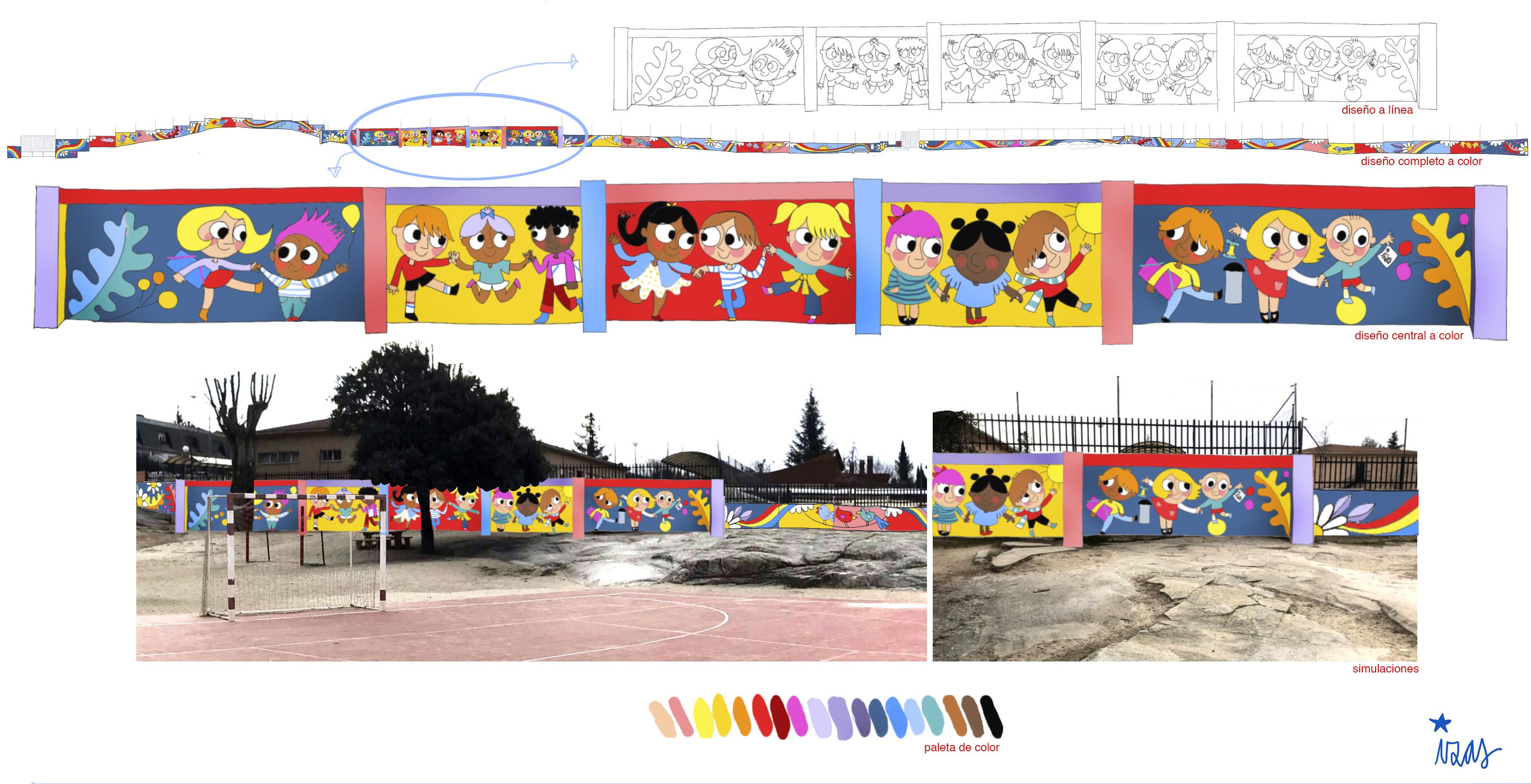 mural izas azulpatio proyecto miguel delibes primaria parte central