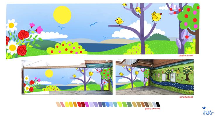 mural izas azulpatio ramiro de maeztu proyecto