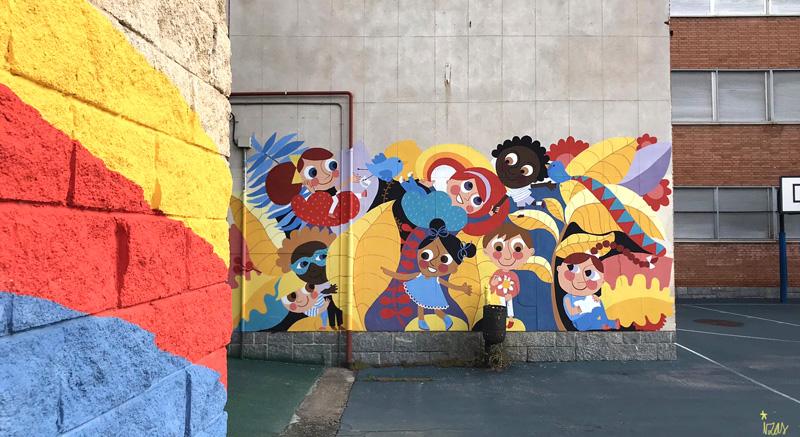 mural izas azulpatio ceip santo domingo entrada inf pano 3