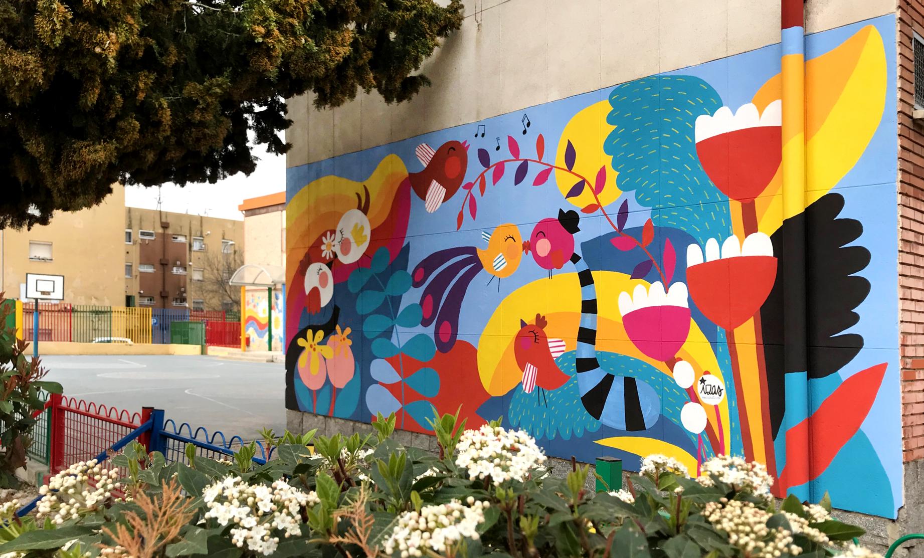 mural izas azulpatio ceip santo domingo flores derecha