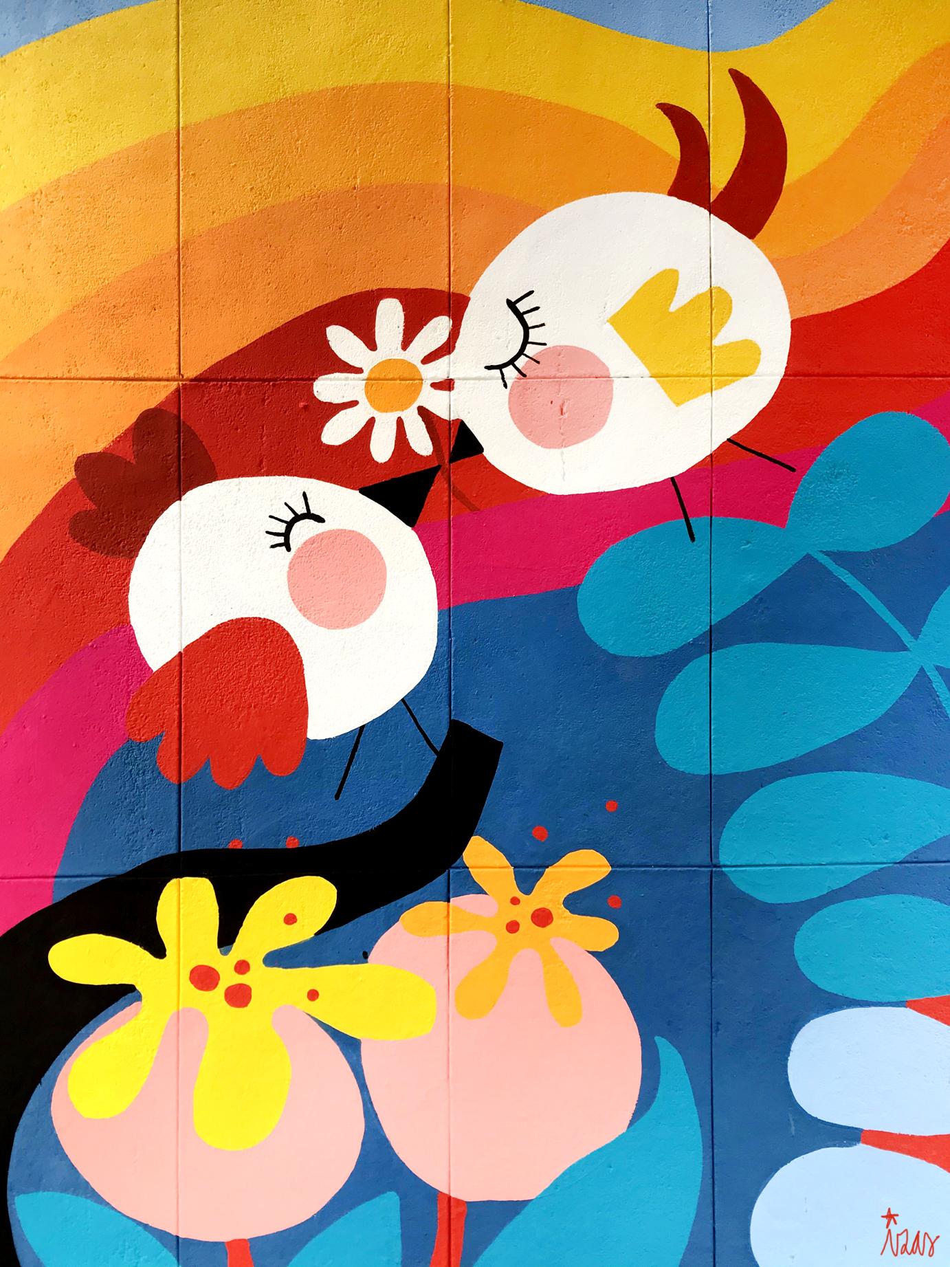 mural izas azulpatio ceip santo domingo flores detalle 1