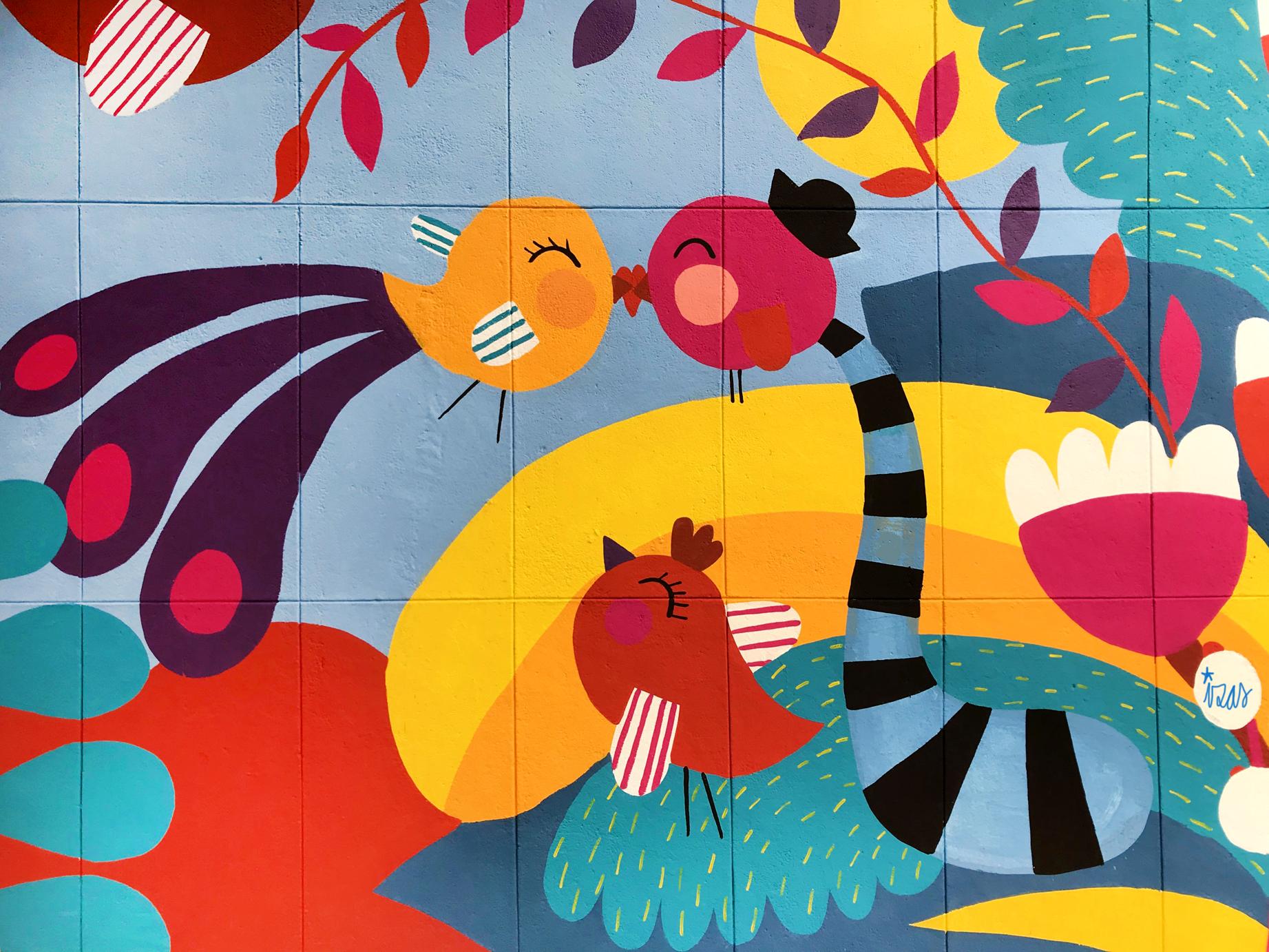 mural izas azulpatio ceip santo domingo flores detalle 2