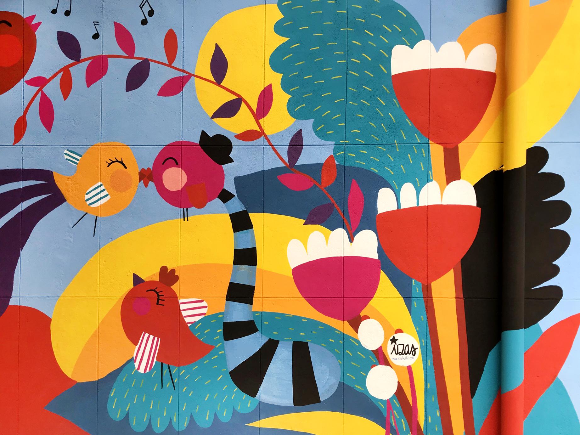 mural izas azulpatio ceip santo domingo flores detalle 3
