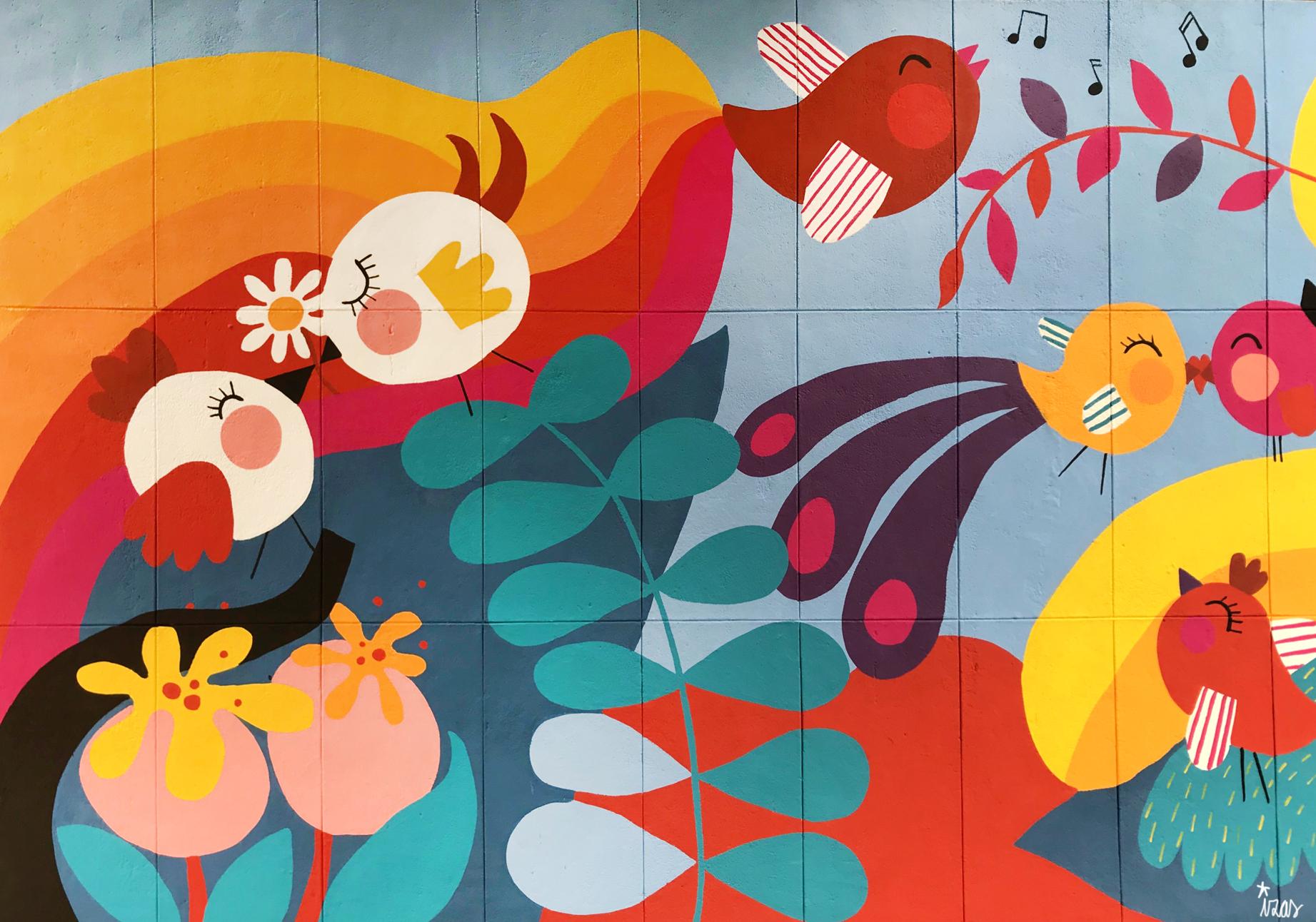 mural izas azulpatio ceip santo domingo flores detalle 4