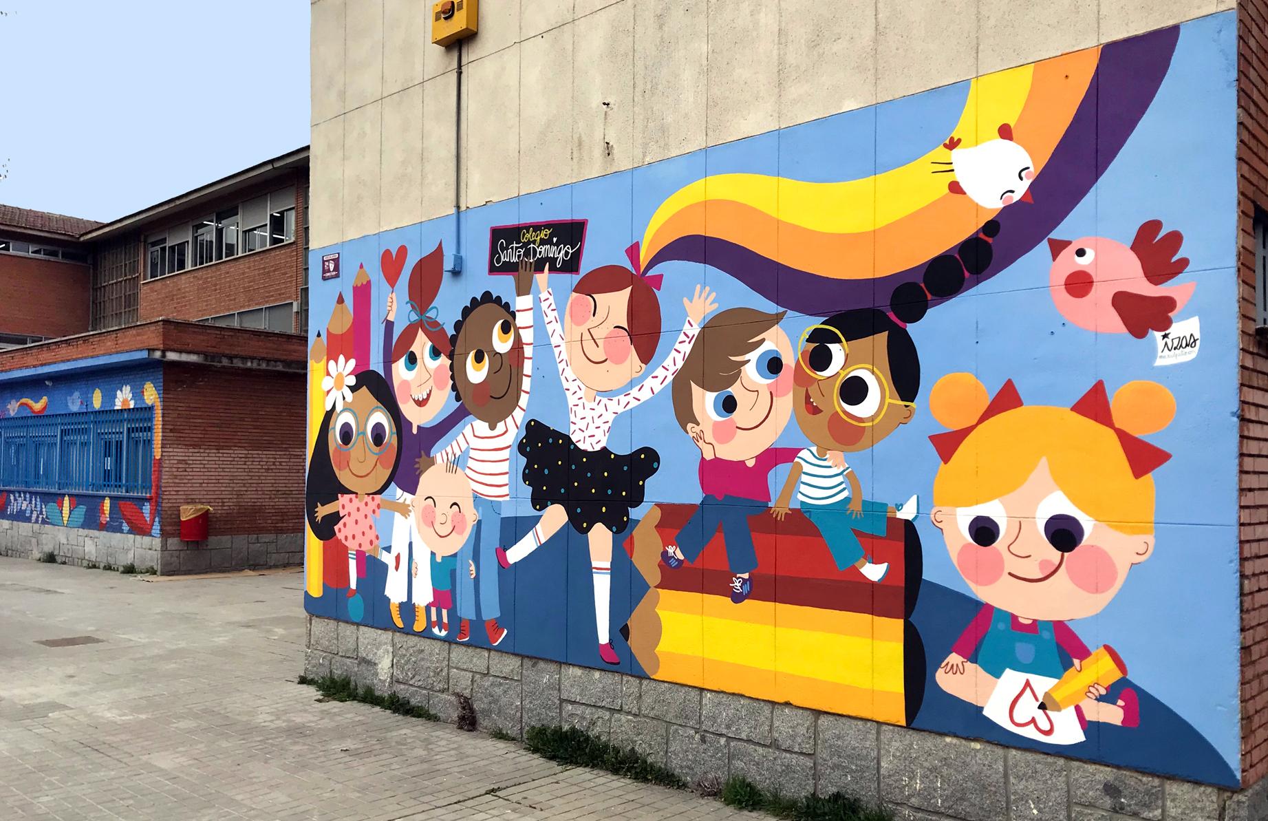 mural izas azulpatio ceip santo domingo niños derecha