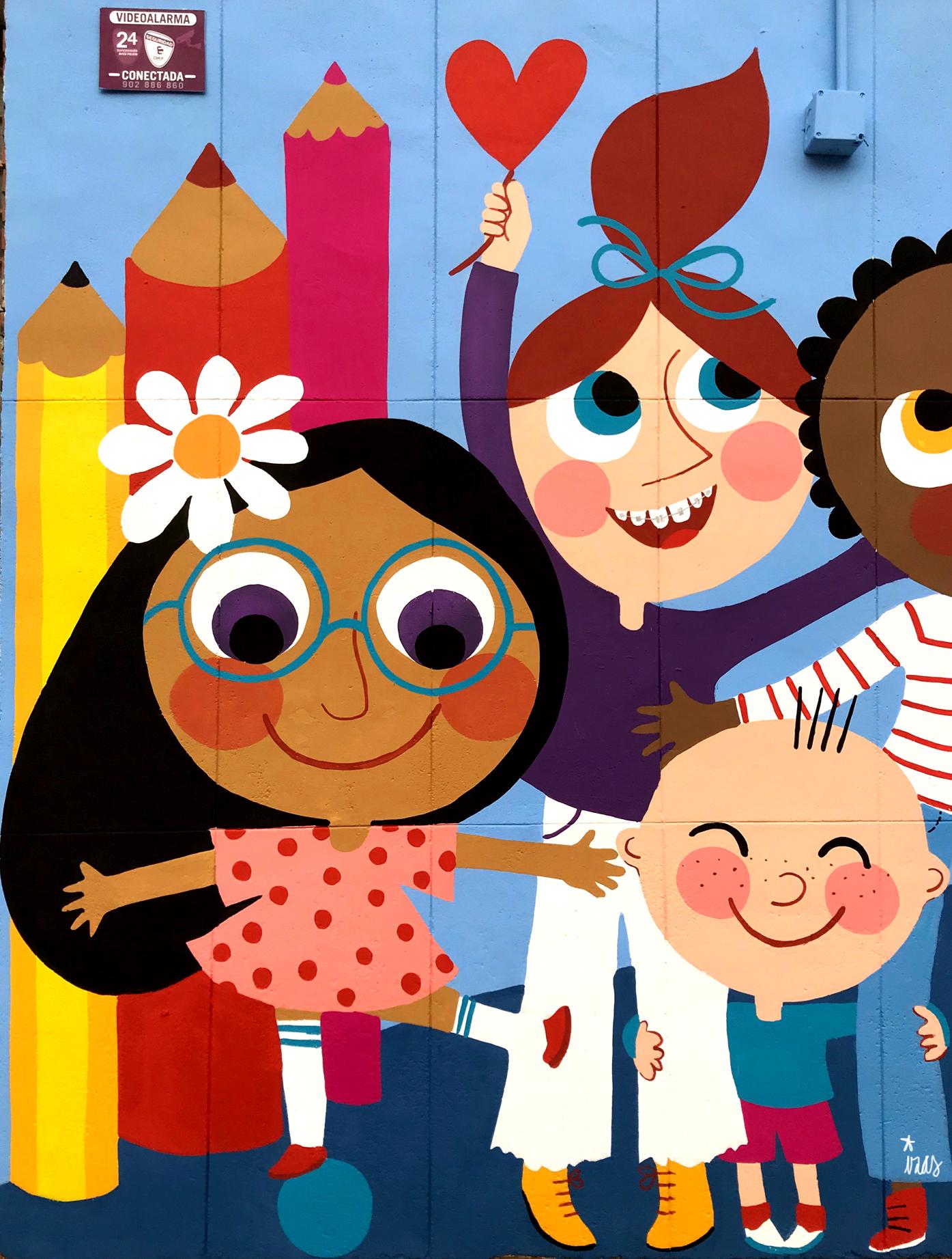 mural izas azulpatio ceip santo domingo niños detalle 1