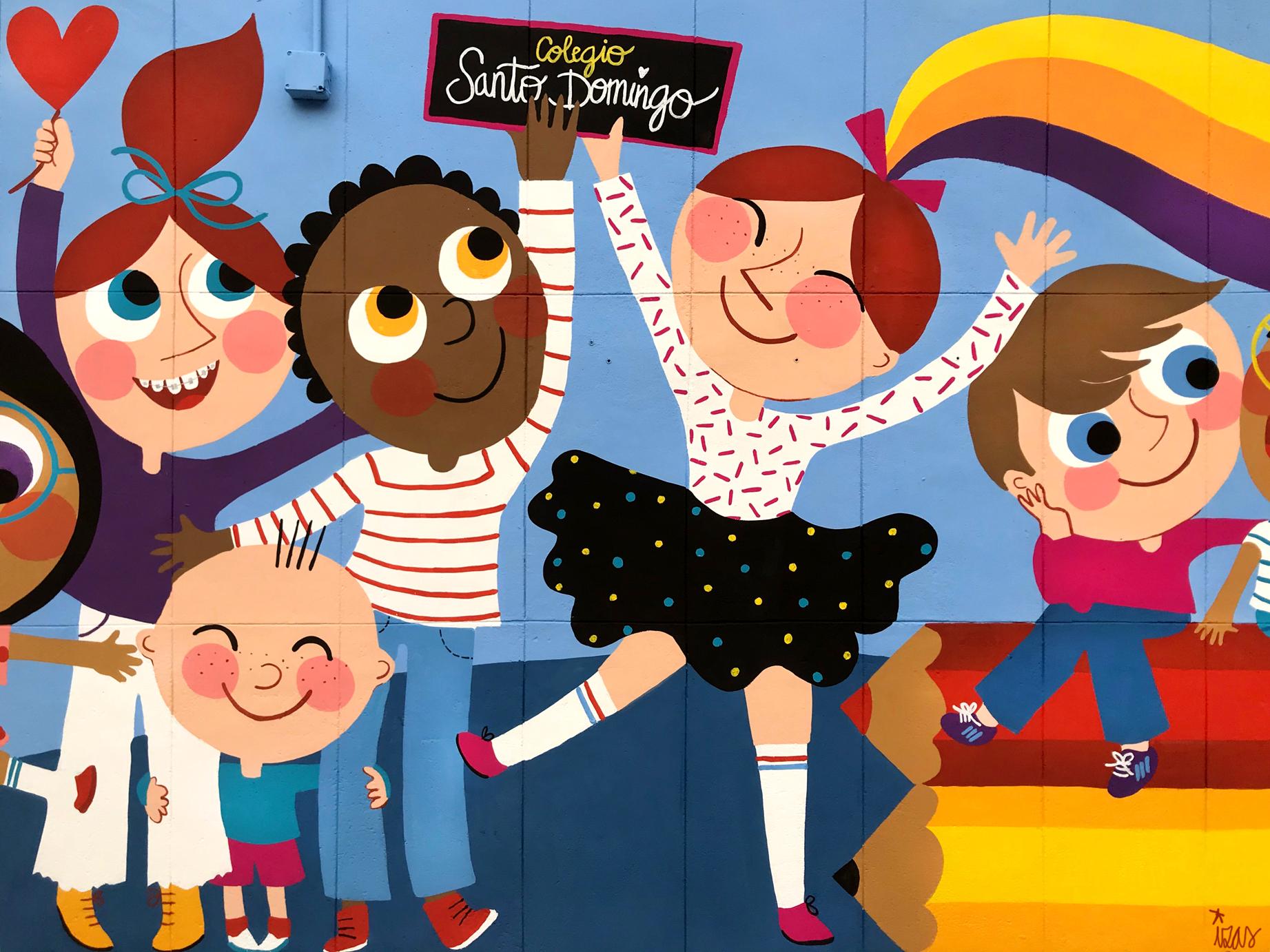 mural izas azulpatio ceip santo domingo niños detalle 10