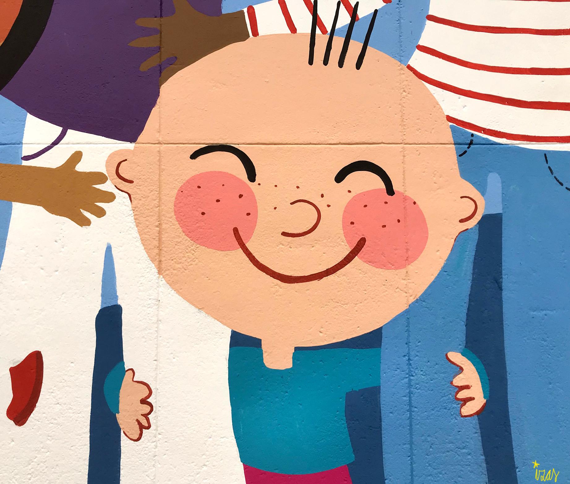 mural izas azulpatio ceip santo domingo niños detalle 5