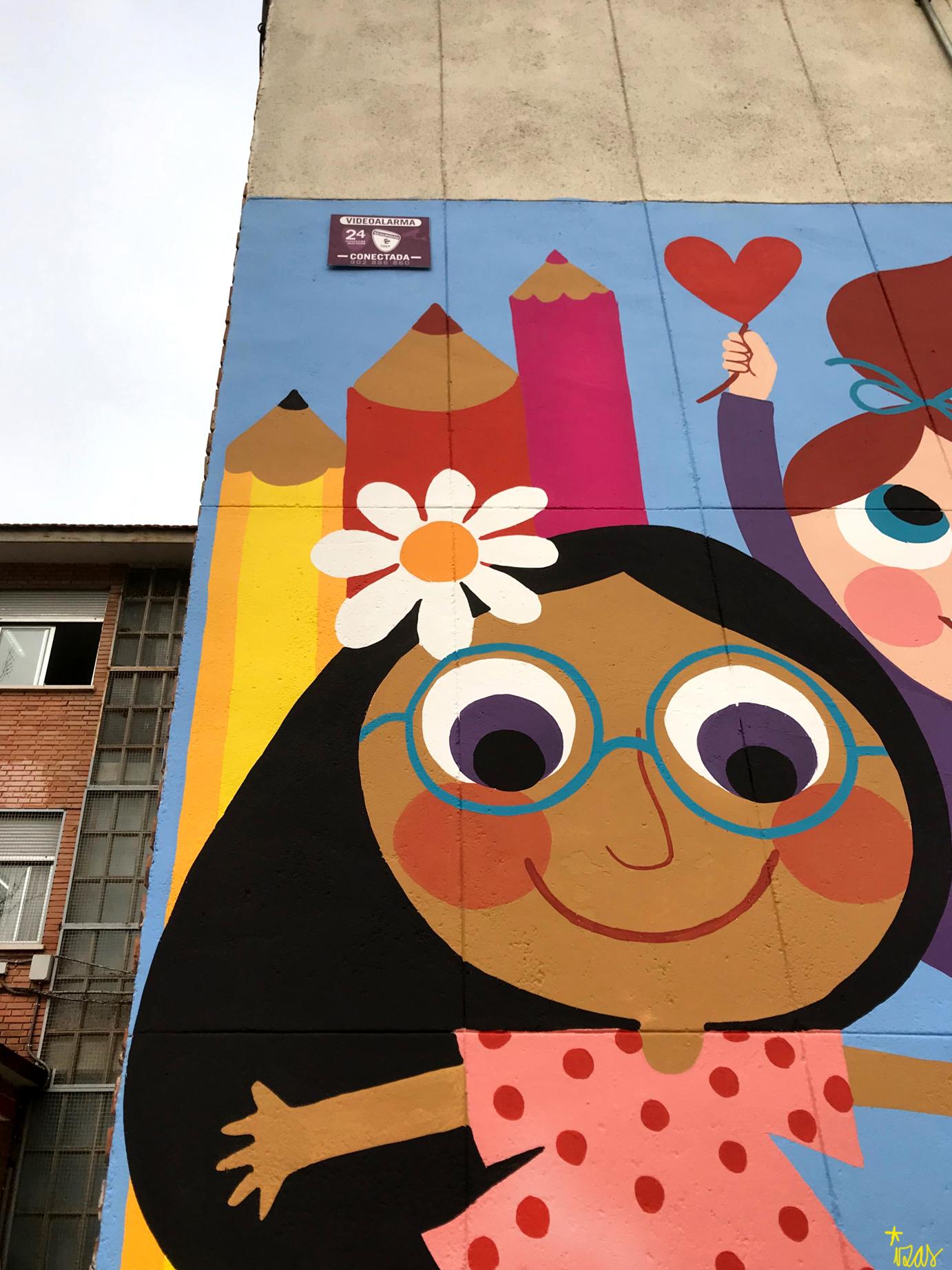 mural izas azulpatio ceip santo domingo niños detalle 6