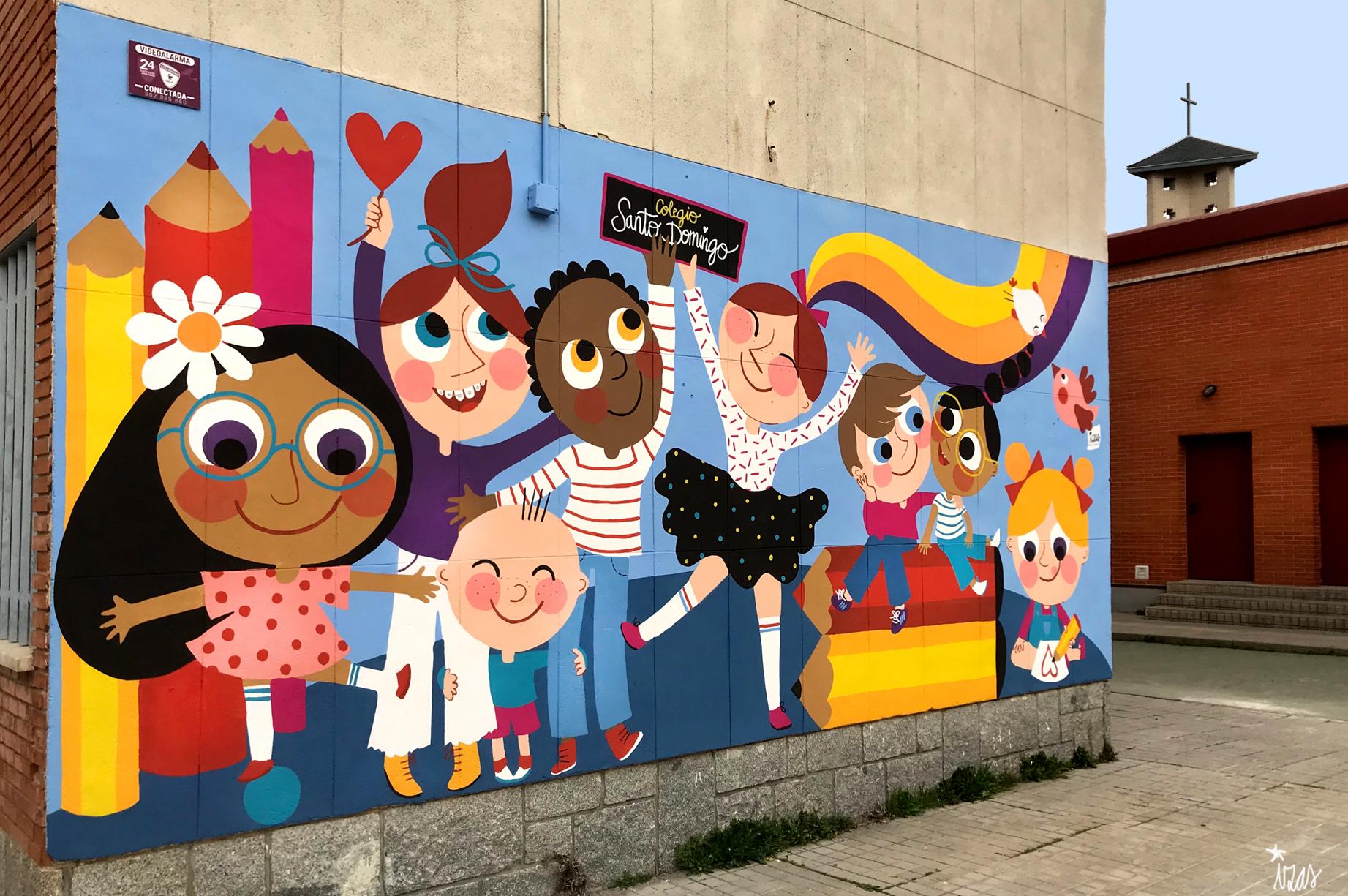 mural izas azulpatio ceip santo domingo niños izquierda
