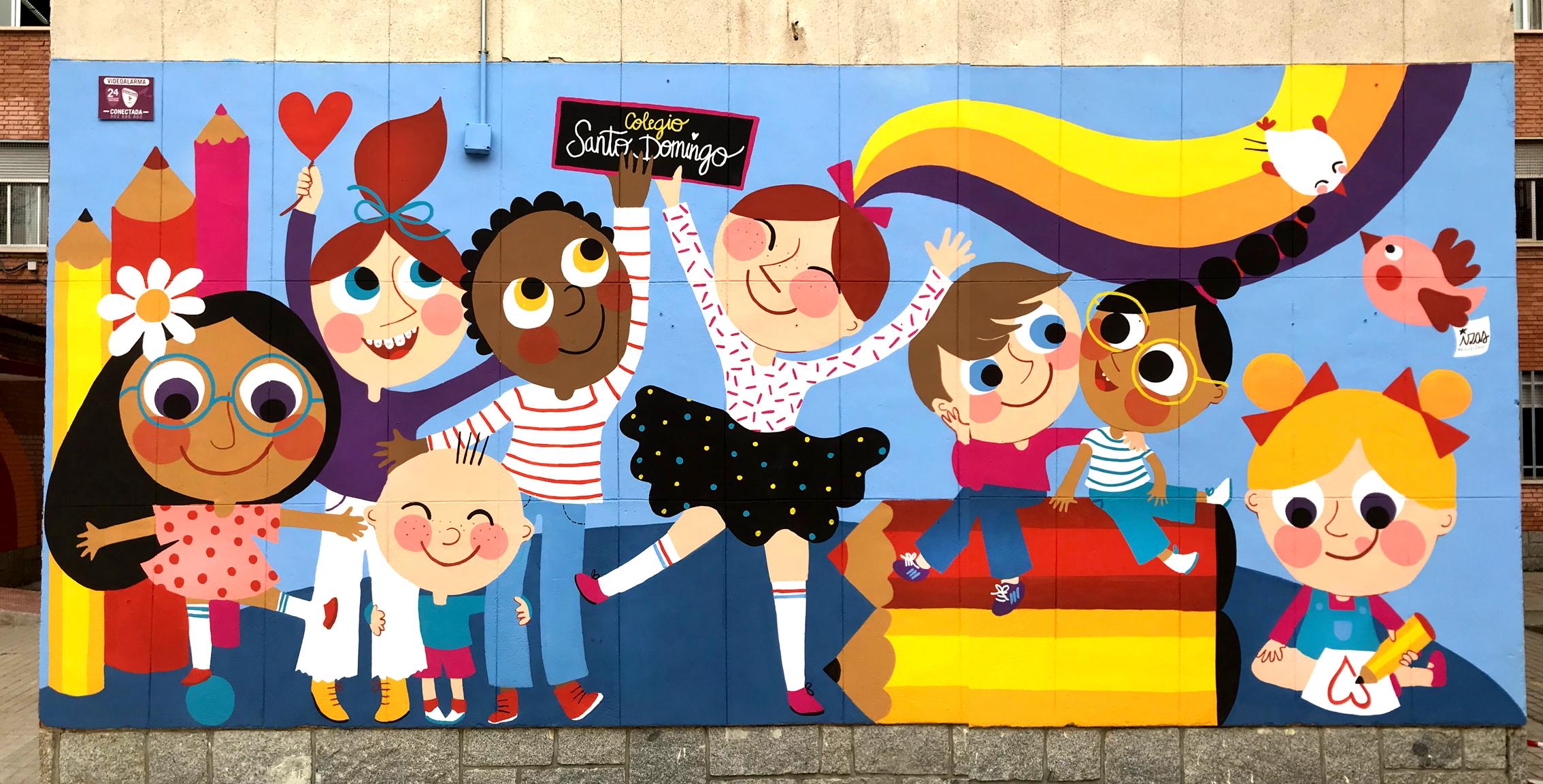 mural izas azulpatio ceip santo domingo niños pano