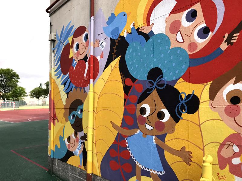 mural izas azulpatio ceip santo domingo patio derecha detalle