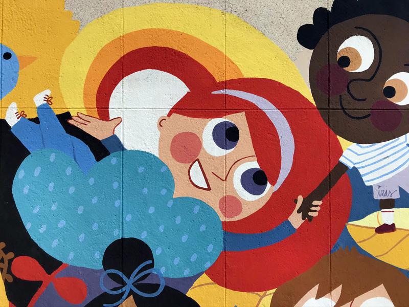 mural izas azulpatio ceip santo domingo patio detalle 10