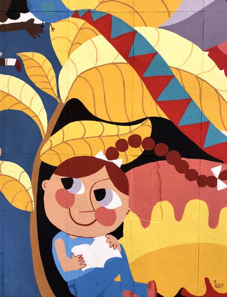 mural izas azulpatio ceip santo domingo patio detalle 11