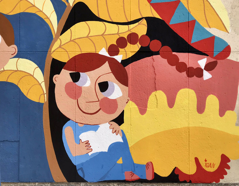 mural izas azulpatio ceip santo domingo patio detalle 17