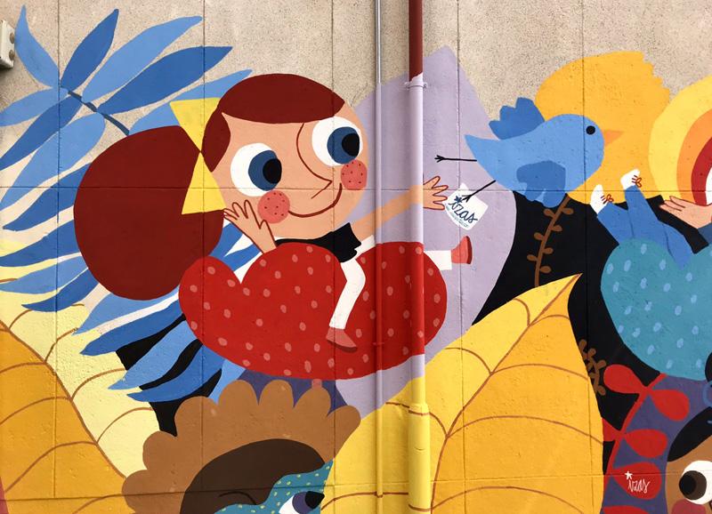 mural izas azulpatio ceip santo domingo patio detalle 4