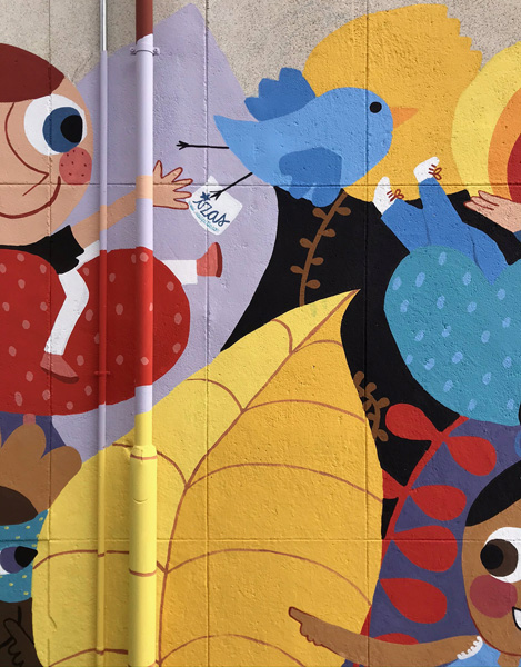 mural izas azulpatio ceip santo domingo patio detalle 8