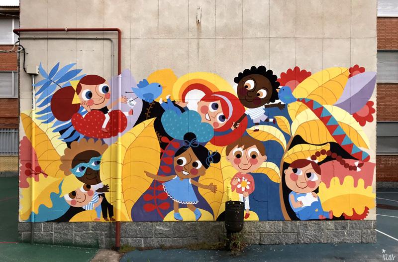 mural izas azulpatio ceip santo domingo patio frente