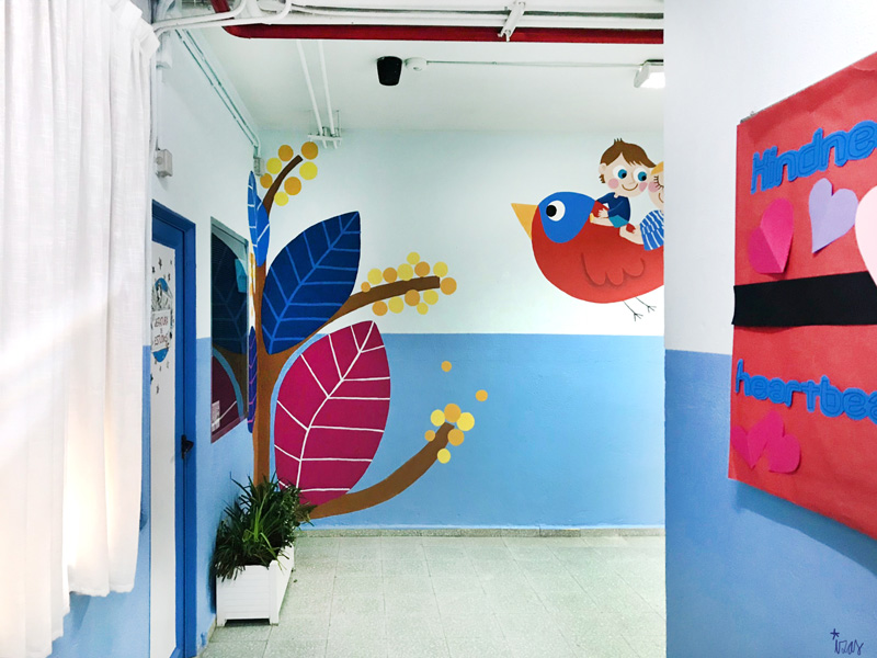 mural izas azulpatio entrada ceip santo domingo detalle 18