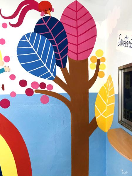 mural izas azulpatio entrada ceip santo domingo detalle 7