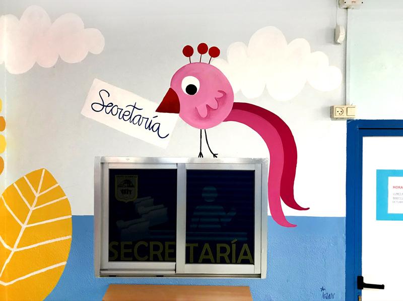 mural izas azulpatio entrada ceip santo domingo detalle 9