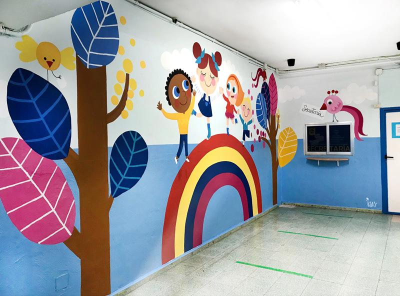mural izas azulpatio entrada ceip santo domingo pano