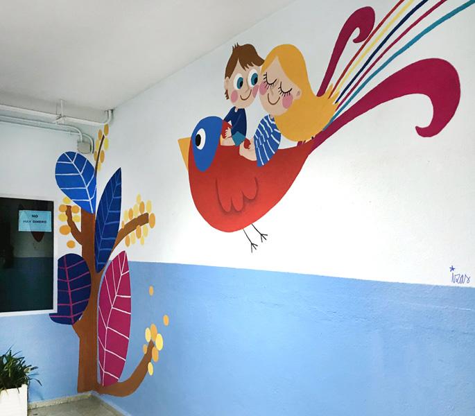 mural izas azulpatio entrada ceip santo domingo pasillo 2 dcha