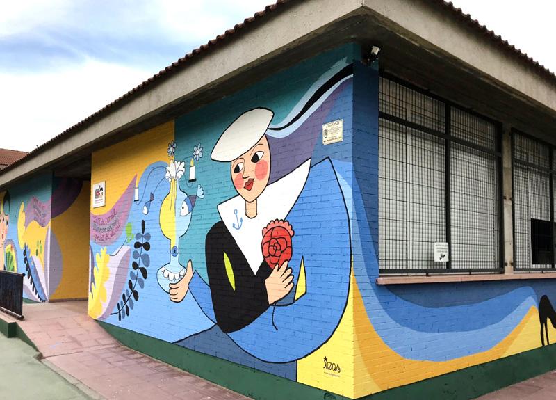 mural izas azulpatio lorca colmenar ángulo 2