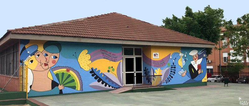 mural izas azulpatio lorca colmenar frente pano