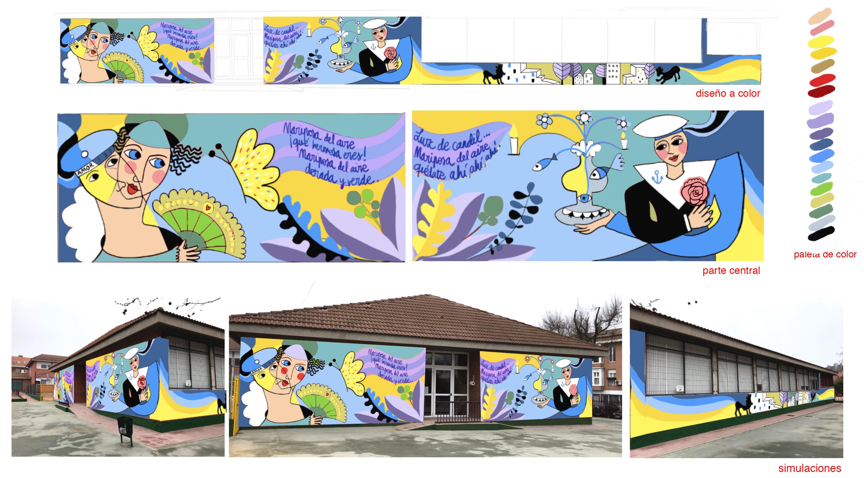 mural izas azulpatio proyecto lorca