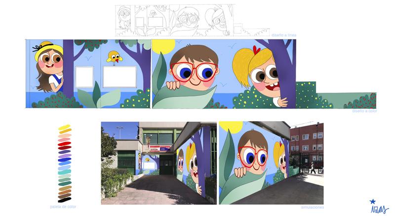 mural izas azulpatio ceip agustina díez entrada diseño