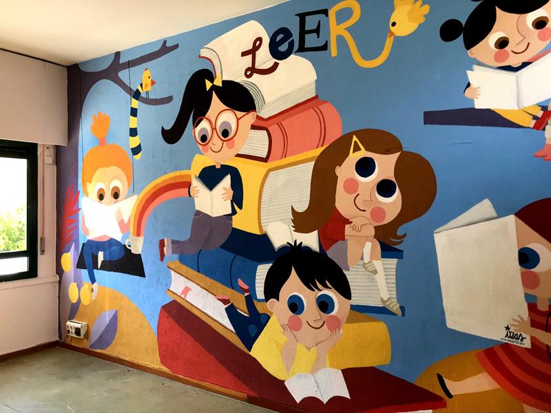mural izas azulpatio ceip agustina diez lateral dcha 2