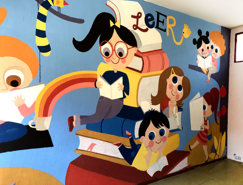 mural izas azulpatio ceip agustina diez lateral izq