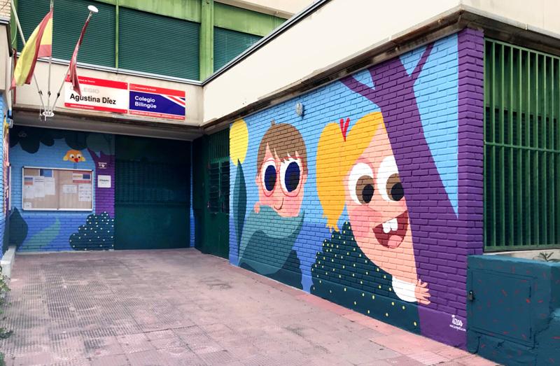 mural izas azulpatio ceip asunción agustina díez entrada dcha 2