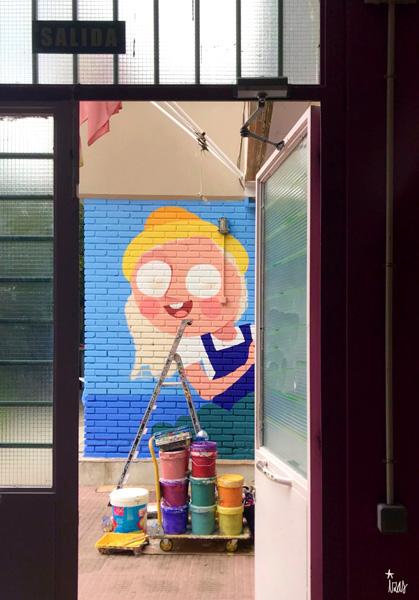 mural izas azulpatio ceip asunción agustina díez entrada proceso 2