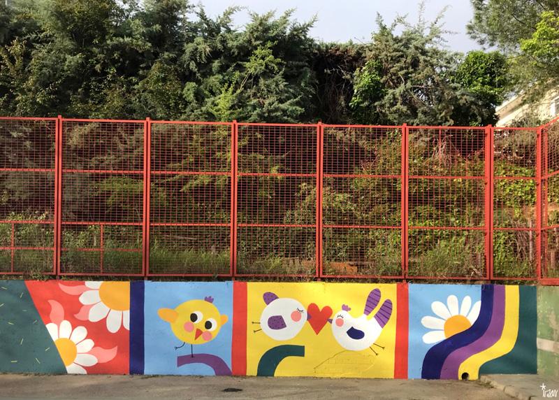 mural izas azulpatio ceip asunción de nuestra señora detalle 1