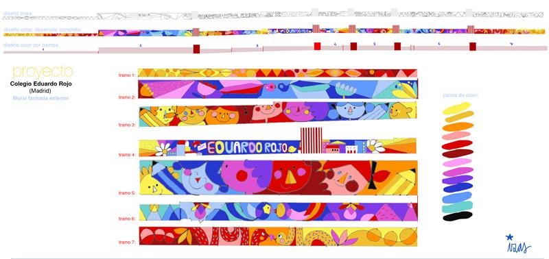 mural izas azulpatio ceip eduardo rojo exterior proyecto