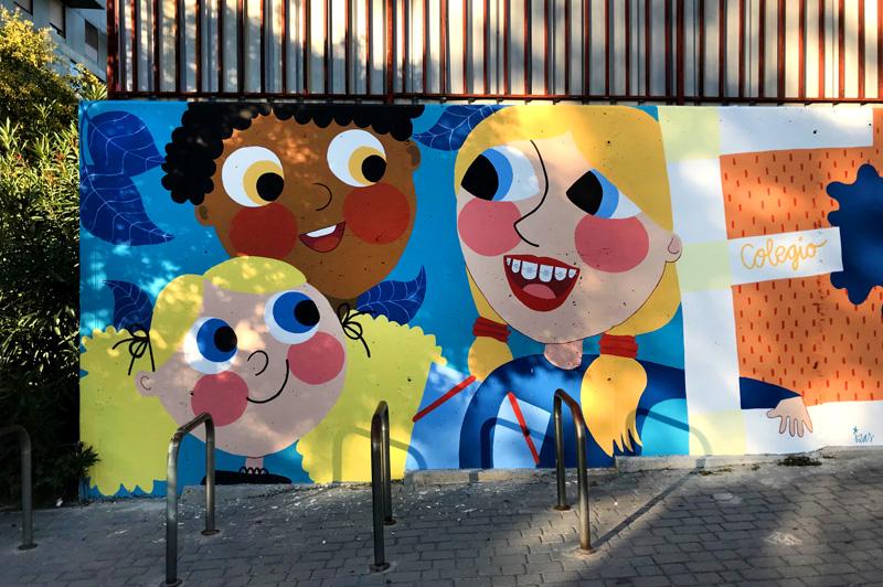 mural izas azulpatio ceip eduardo rojo fachada detalle 1