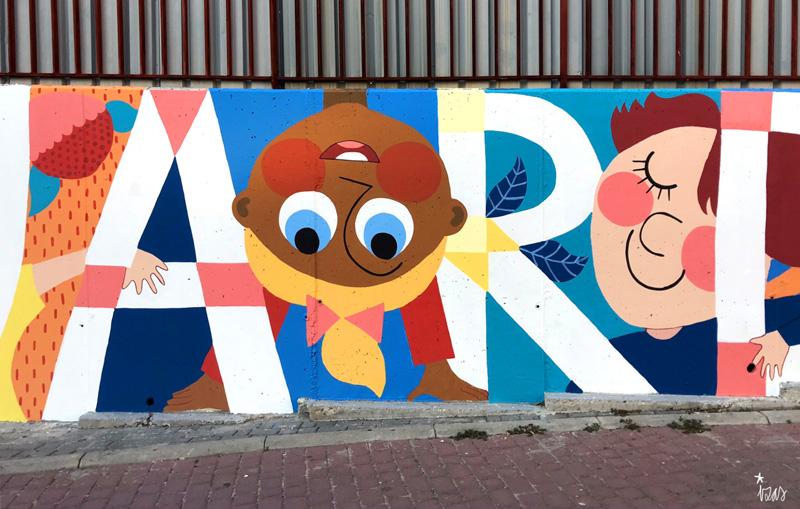 mural izas azulpatio ceip eduardo rojo fachada detalle 23