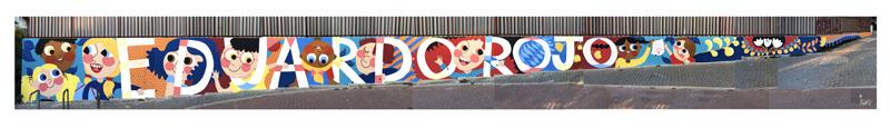 mural izas azulpatio ceip eduardo rojo fachada pano