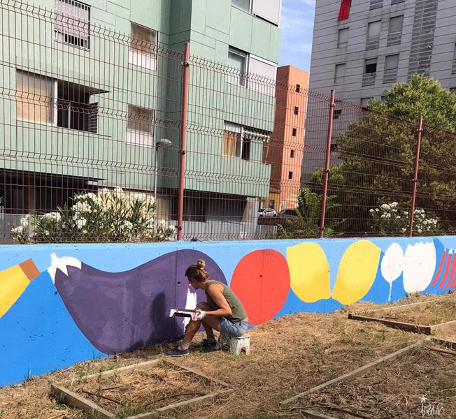 mural izas azulpatio ceip eduardo rojo huerto proceso
