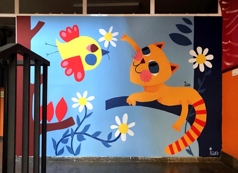 mural izas azulpatio ceip eduardo rojo interior 1