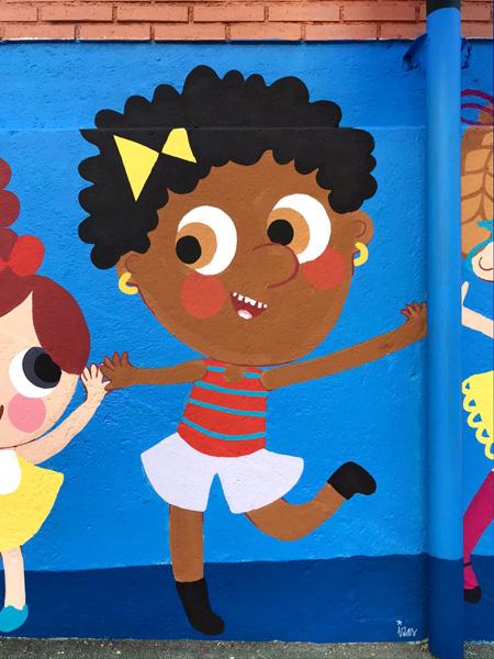 mural izas azulpatio ceip eduardo rojo niños detalle 3