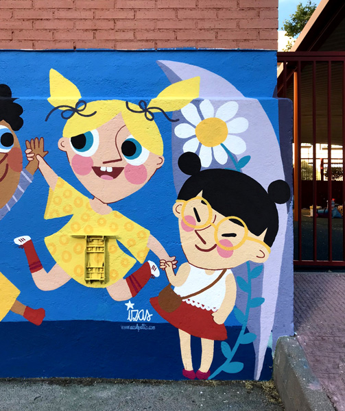 mural izas azulpatio ceip eduardo rojo niños firma