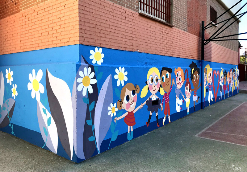 mural izas azulpatio ceip eduardo rojo niños lat izq