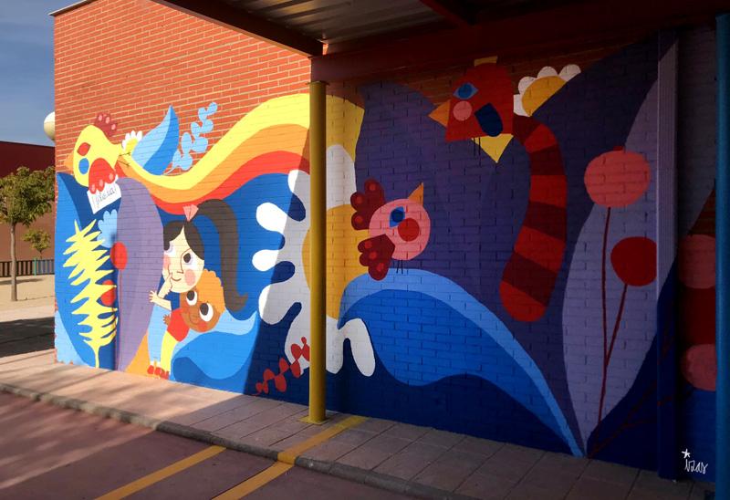mural izas azulpatio ceip loyola de palacio infantil dcha